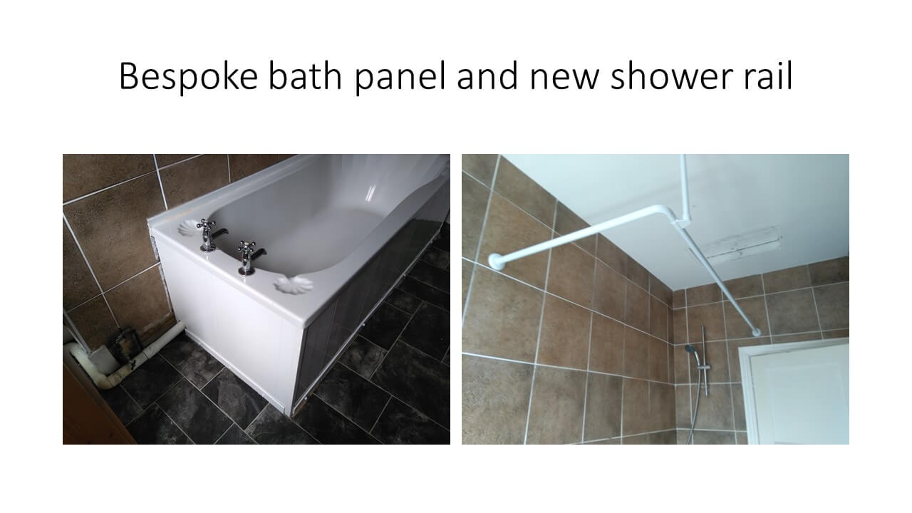 bath panel and shower rail